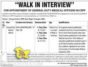 WALK IN INTERVIEW FOR APPOINTMENT OF GENERAL DUTY MEDICAL OFFICERS