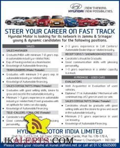 SALES MANAGER, TEAM LEADERS SALES CONSULTANTS, TELE-CALLERS RECEPTIONIST/ SHOWROOM HOSTESS JOBS IN HYUNDAI MOTOR