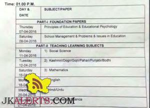 JKBOSE Datesheet for D.E.Ed Regular private Jammu Province including Leh and kargil
