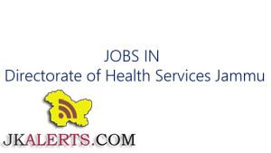 Health Services Jammu, Govt Jobs, hiring, contractual staff.