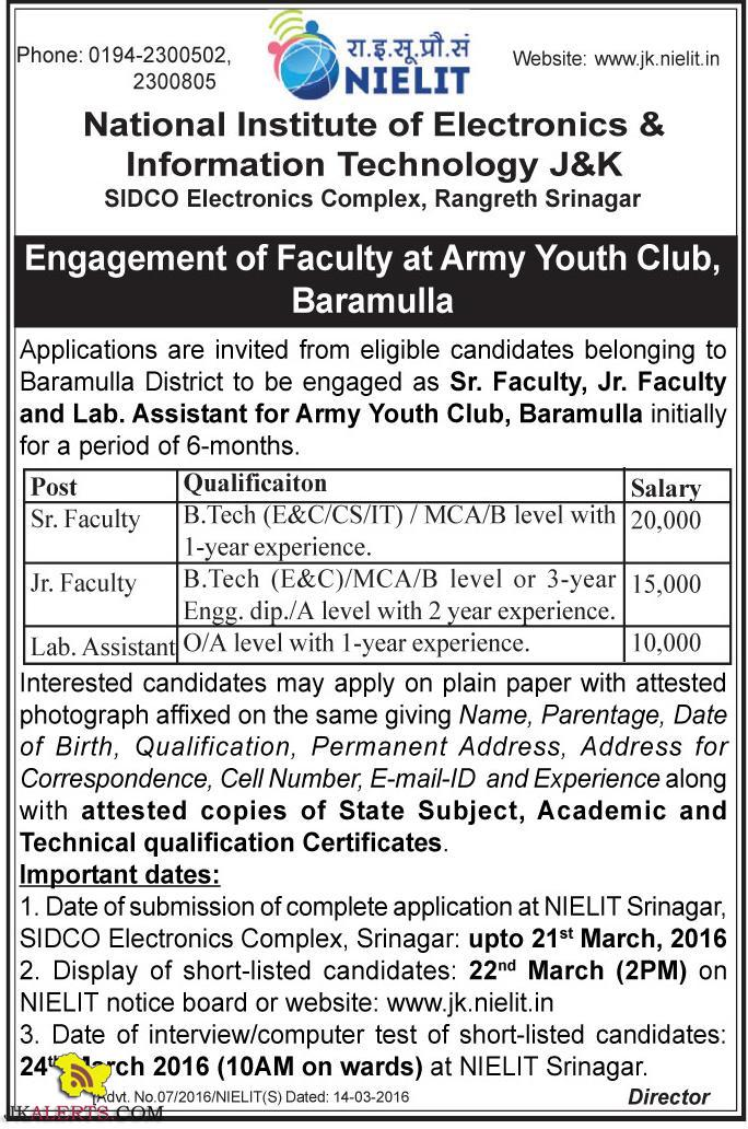Sr. Faculty, Jr. Faculty and Lab. Assistant jobs in Army Youth Club