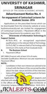 Kashmir university engagement of Lecturers for Academic Session -2016