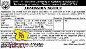 Admission open in MBA (Agri-Business Management) SKUAST Chatha, Jammu (J&K)