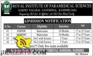 FMPHW, FMPHW, Medical Assistant, Lab. Assistant Admission open in ROYAL INSTITUTE OF PARAMEDICAL SCIENCES