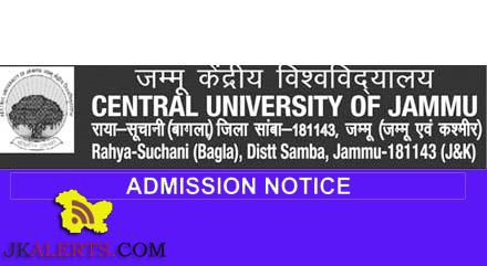UG, PG, Ph.D, Admission open in Central University of Jammu