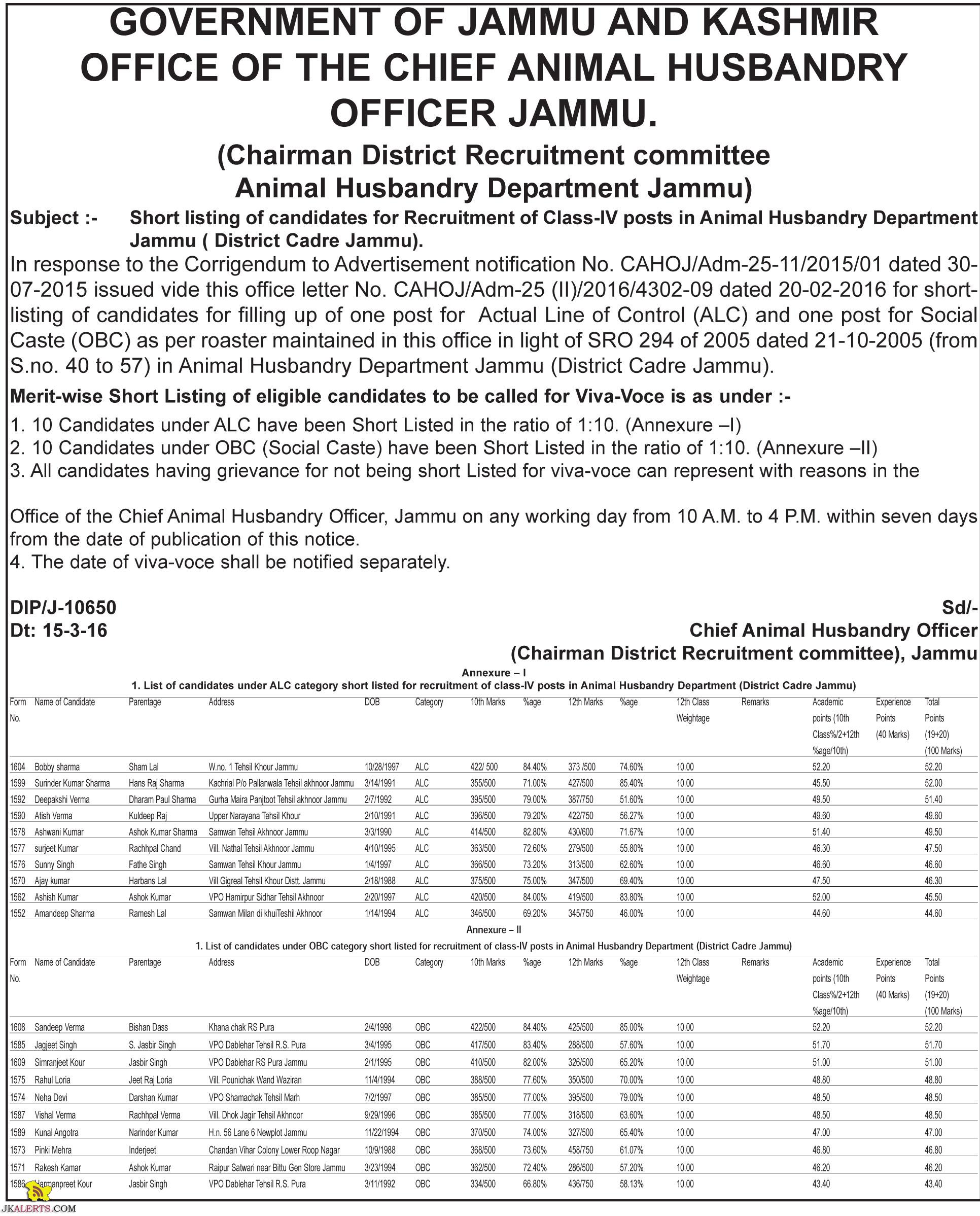 Short listing candidates for Class-IV posts in Animal Husbandry Department Jammu