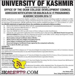Admission Open in Kashmir University in BBA/BCA/B.SC-IT PROGRAMMES 2016-17