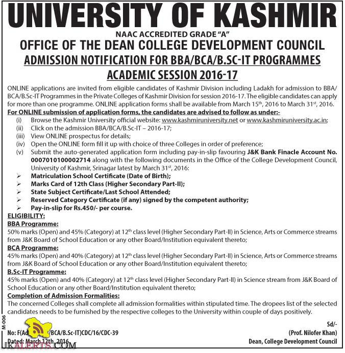 Admission Open in Kashmir University in BBA/BCA/B.SC-IT PROGRAMMES 2016-17