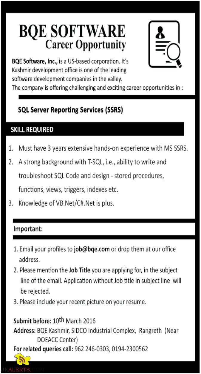 JOBS IN BQE SOFTWARE, IT JOBS IN SRINAGAR, SQL Server Reporting Services (SSRS)