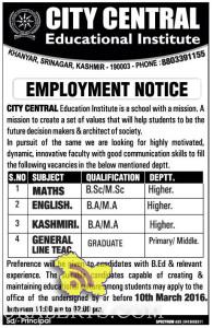 JOBS IN CITY CENTRAL Educational Institute EMPLOYMENT NOTICE