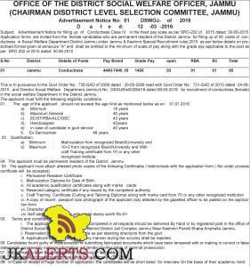 Class IV conductress jobs in Social Welfare Department