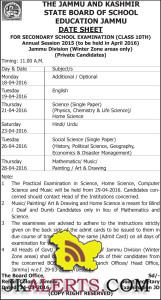 JKBOSE DATE SHEET FOR CLASS 10TH ANNUAL 2015 Jammu Division Winter Zone