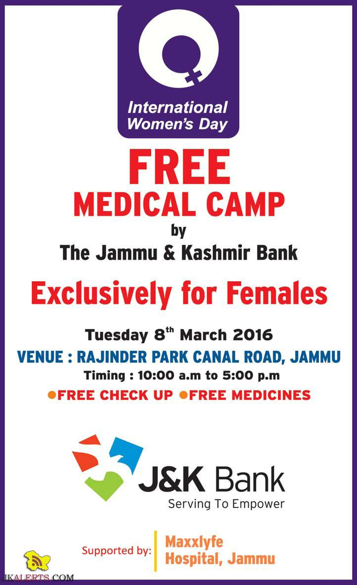 FREE MEDICAL CAMP by The Jammu & Kashmir Bank for Female in Jammu