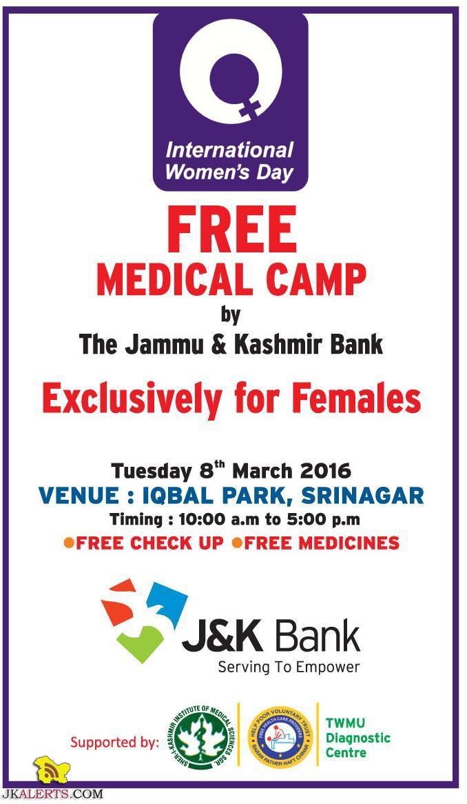 FREE MEDICAL CAMP by The Jammu & Kashmir Bank for Female in Srinagar