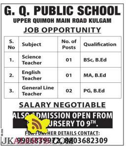 Jobs in G.Q. PUBLIC SCHOOL Kulgam