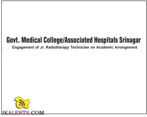 Jr. Radiotherapy Technician Jobs in Govt. Medical College/Associated Hospitals Srinagar