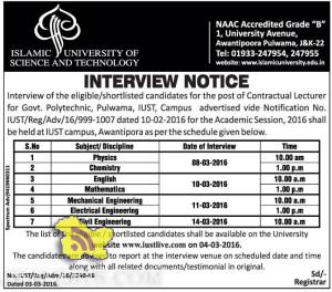 IUST Interview of the eligible/shortlisted candidates for the post of Contractual Lecturer