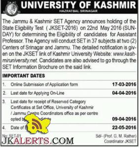Jammu & Kashmir SET announces holding of the SET (JKSET-2016) on 22nd May
