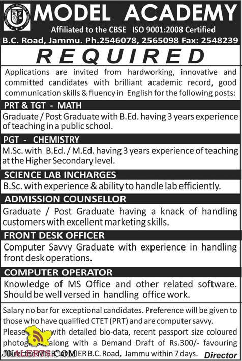 TEACHING AND NON TEACHING JOBS IN MODEL ACADEMY B.C. Road, Jammu