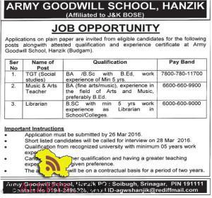 TGT, Teacher, Librarian JOBS IN ARMY GOODWILL SCHOOL