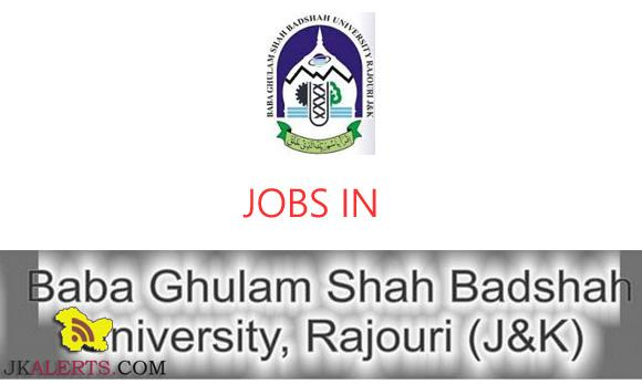 Jobs in Baba Ghulam Shah Badshal University, Rajouri (J&K)– SRF Posts: