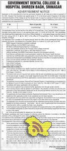 JOBS IN GOVERNMENT DENTAL COLLEGE & HOSPITAL SHIREEN BAGH, SRINAGAR