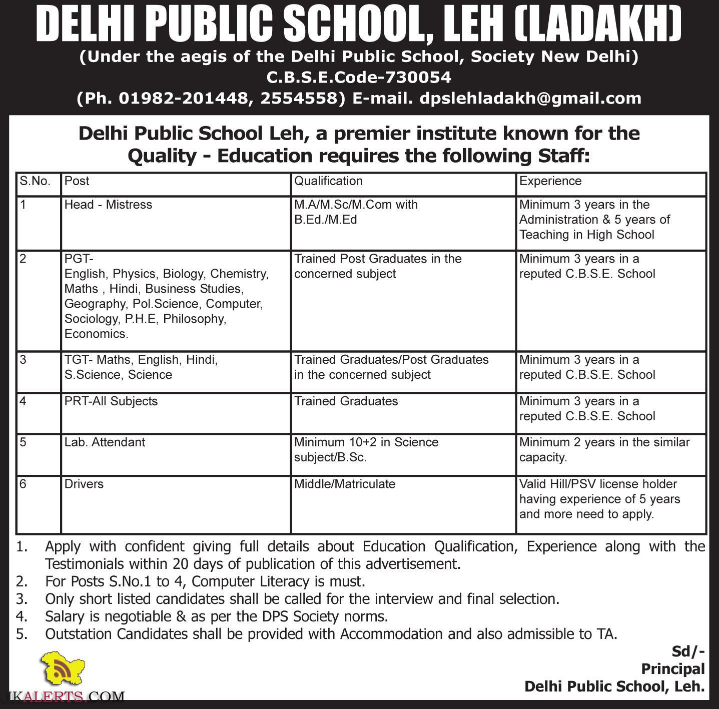 JOBS IN DELHI PUBLIC SCHOOL, LEH (LADAKH)