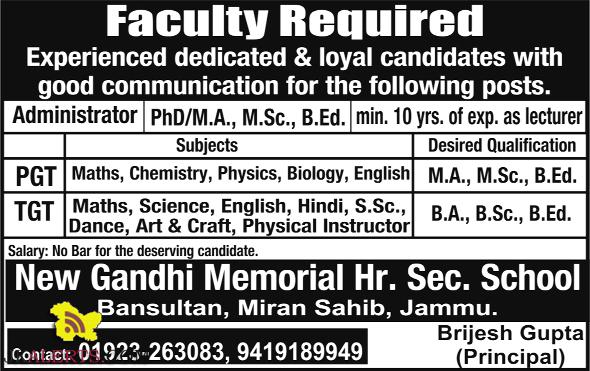 Jobs in New Gandhi Memorial Hr. Sec. School Miran Sahib, Jammu.