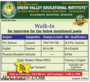 Walk In Interview in GREEN VALLEY EDUCATIONAL INSTITUTE
