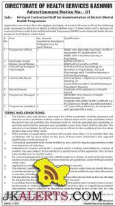 Jobs in District Mental Health Programme Services Srinagar kashmir