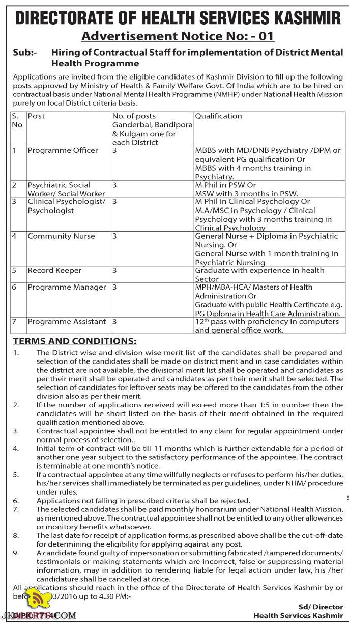 Jobs in District Mental Health Programme Services Srinagar kashmir