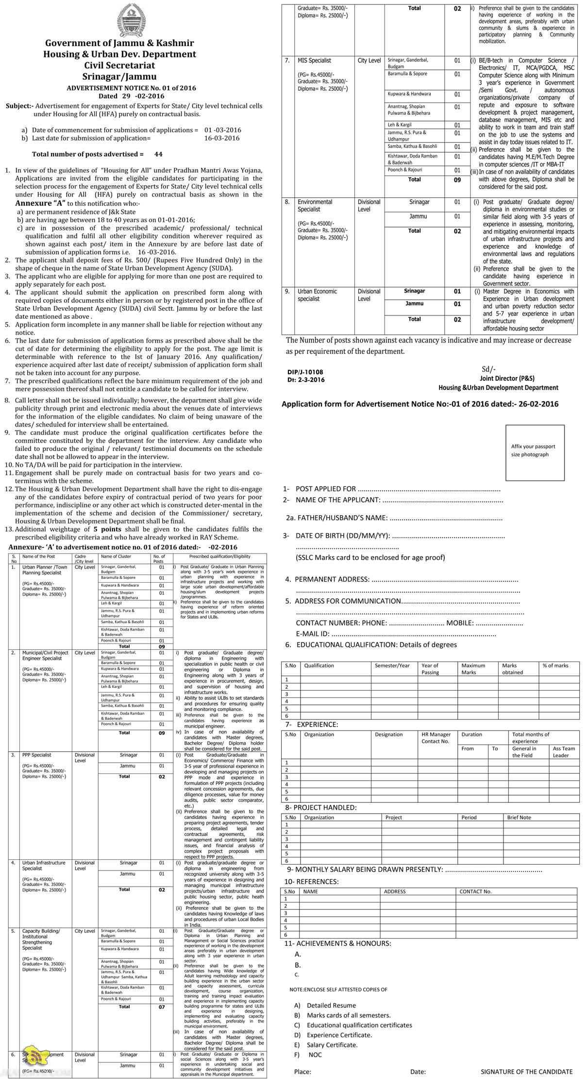 Jobs in Housing & Urban Dev. Department Civil Secretariat Srinagar/Jammu