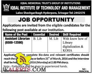 Assistant Librarian jobs in IQBAL INSTITUTE OF TECHNOLOGY AND MANAGEMENT