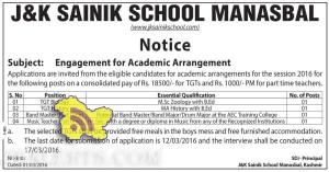 JOBS IN J&K SAINIK SCHOOL MANASBAL, Engagement for Academic Arrangement