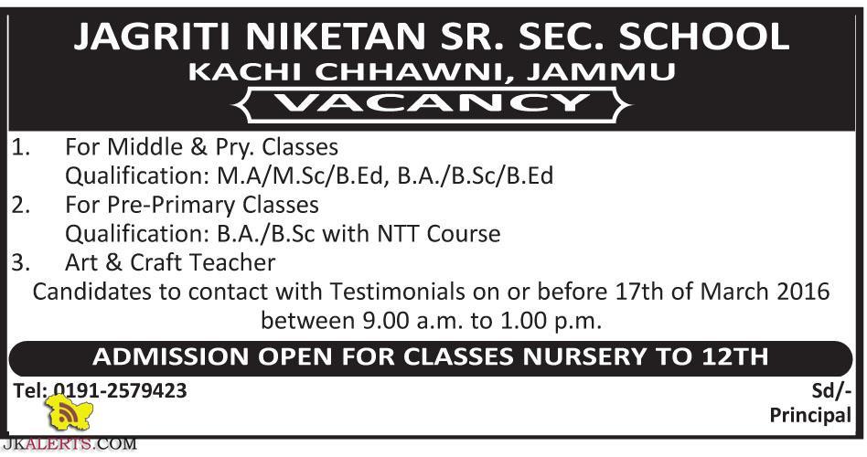 Jobs in JAGRITI NIKETAN SR. SEC. SCHOOL