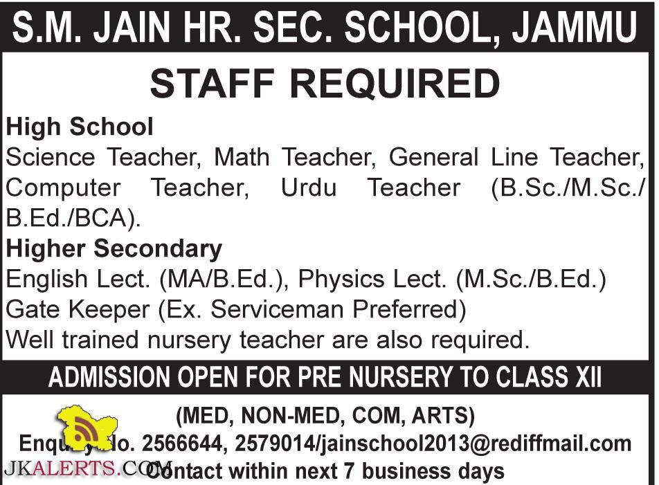 Jobs in S.M. JAIN HR. SEC. SCHOOL, JAMMU