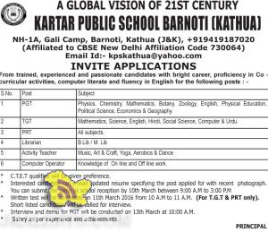 JOBS IN KARTAR PUBLIC SCHOOL BARNOTI (KATHUA)