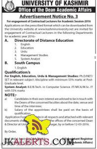 Jobs in Kashmir University Lecturers for Academic Session-2016