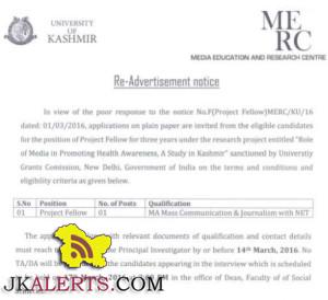Jobs in Kashmir University Project Fellow in Role of Media in Promoting Health Awareness