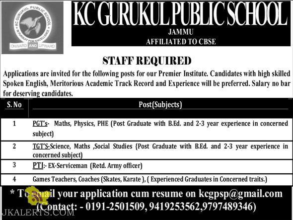 Jobs in KC Gurukul public school
