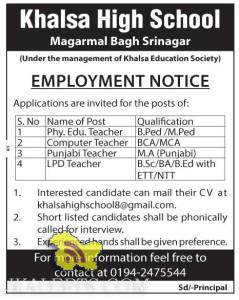 Jobs in Khalsa High School Magarmal Bagh Srinagar