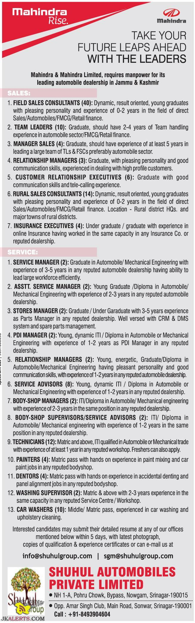 Jobs in Mahindra & Mahindra Limited, for its leading automobile dealership in J&K SHUHUL AUTOMOBILES Pvt Ltd