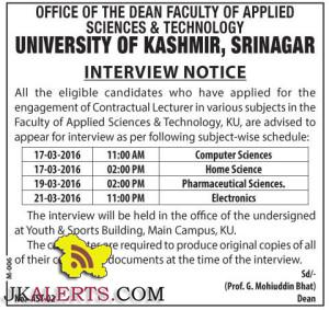 Engagement of Lecturer in various subjects in the Faculty of Applied Sciences & Technology, KU