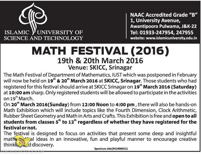 MATH FESTIVAL (2016) The Math Festival of Department of Mathematics, IUST