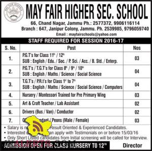 JOBS IN MAY FAIR HIGHER SECONDARY SCHOOL