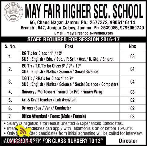 JOBS IN MAY FAIR HIGHER SECONDARY SCHOOL