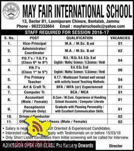 Jobs in May fair international school , Bantalab, Jammu