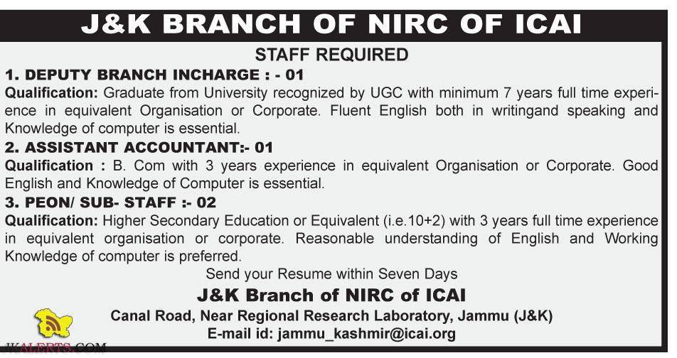 Jobs in J&k Branch of NIRC of ICAI