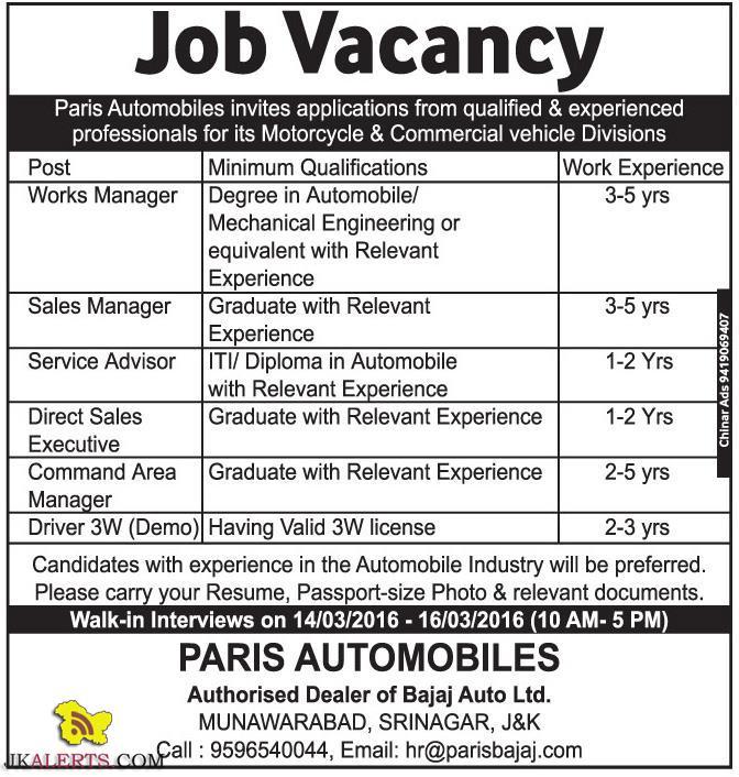 JOBS IN PARIS AUTOMOBILES Authorised Dealer of Bajaj Auto Ltd.