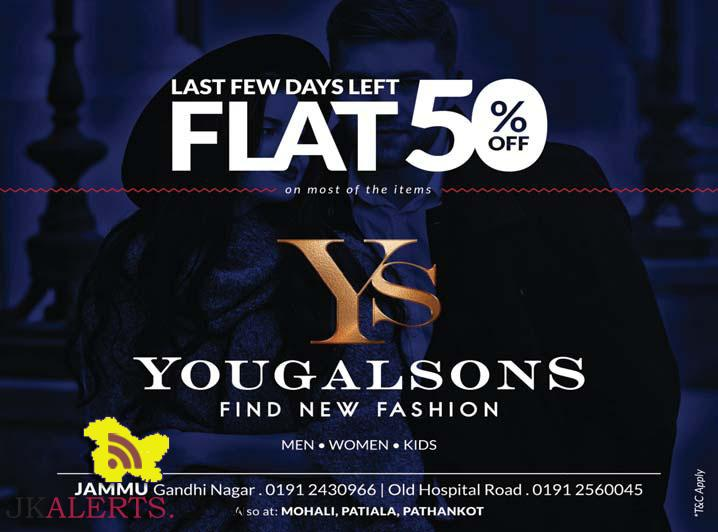 Yougal Sons Flat 50% sale on Men Women and kids wear Mohali Patiala Pathankot Jammu